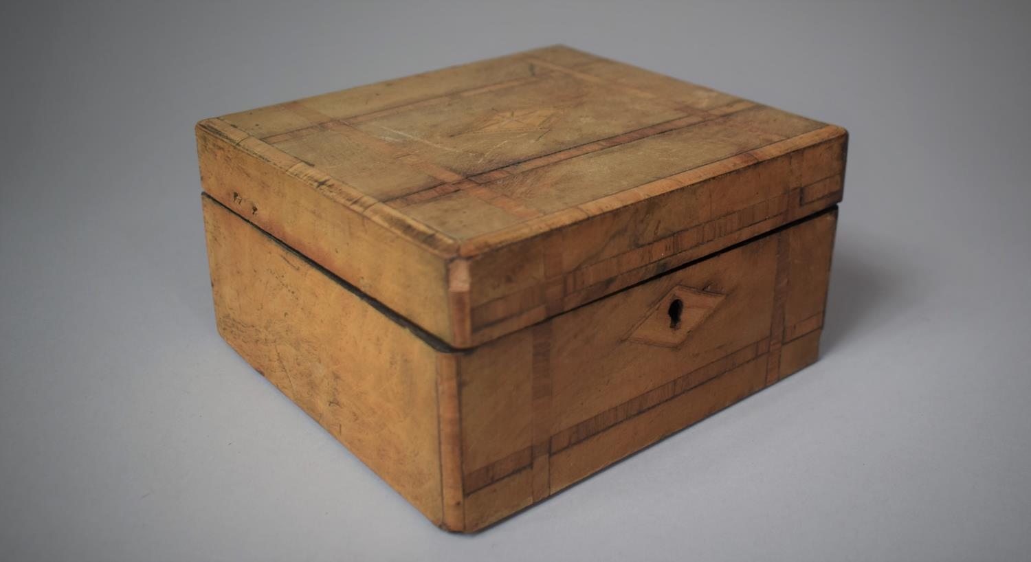 A Late 19th Century Inlaid Jewellery Box, Somewhat Faded, 19.5cm Wide