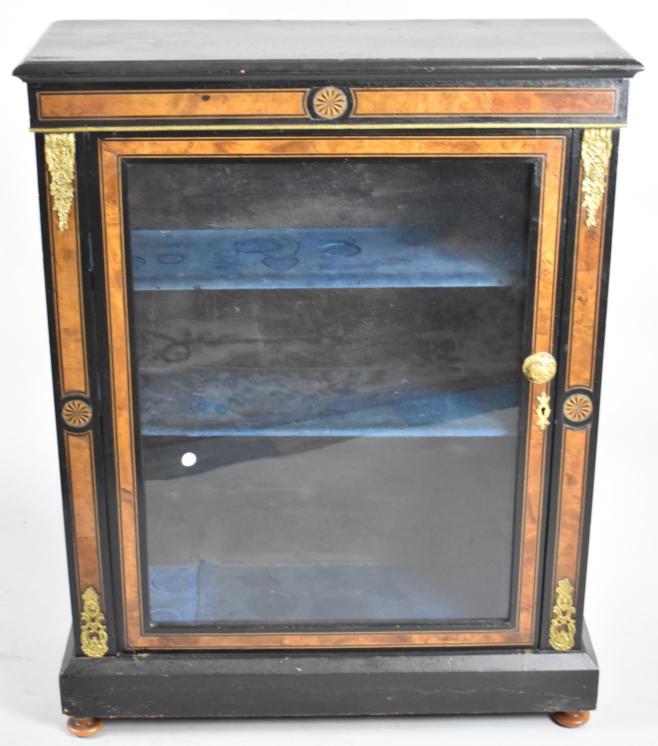 A 19th Century Ormolu Mounted Ebonised Inlaid Credenza with Glazed Door to Three Shelved Interior, - Image 2 of 2
