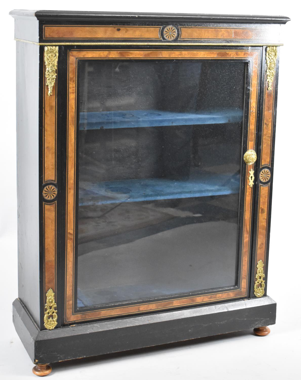A 19th Century Ormolu Mounted Ebonised Inlaid Credenza with Glazed Door to Three Shelved Interior,