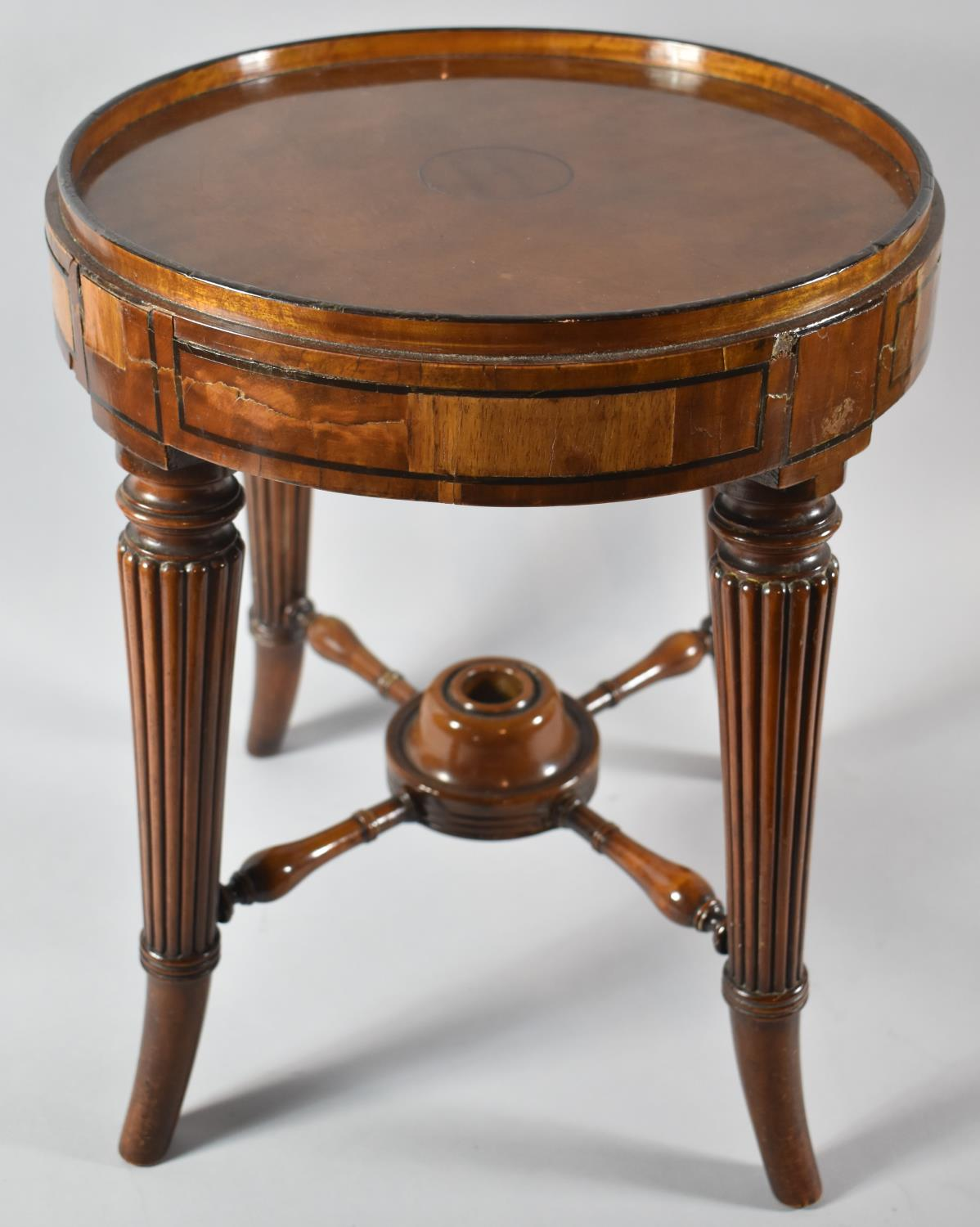 A Former Swivel Top Piano Stool Base Converted to Table with Turned Reeded Tapering Legs, 34cm