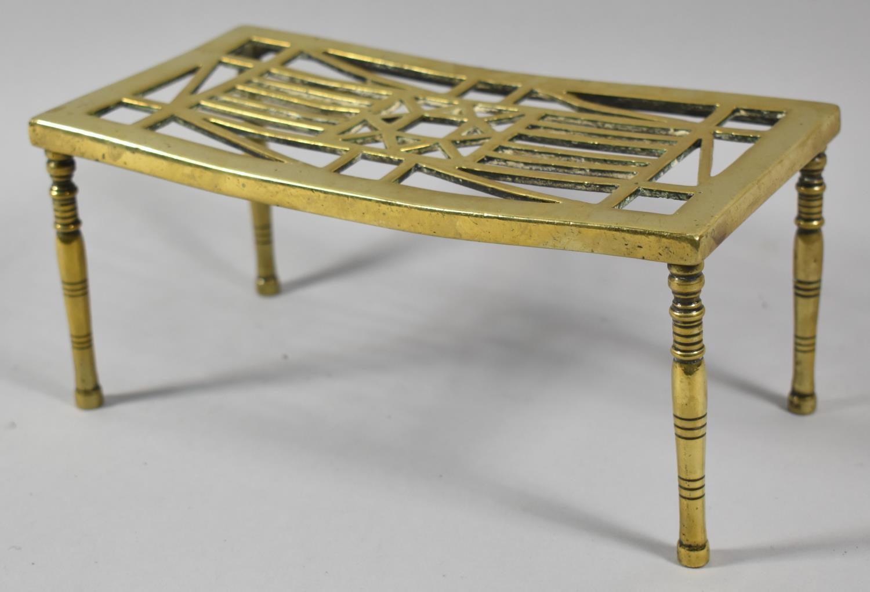 A Late 19th Century Rectangular Brass Pierced Trivet, 23x12cm
