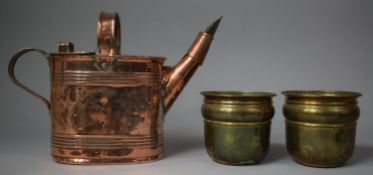 A Late 19th/Early 20th Century Copper Army and Navy Water Jug and Two Brass Planters