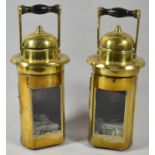 A Pair of Cylindrical Brass Oil Lamps, 22cm high