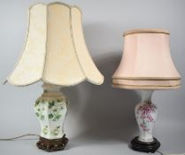 Two Ceramic Vase Shaped Table Lamps with Shades, both Having Floral Design