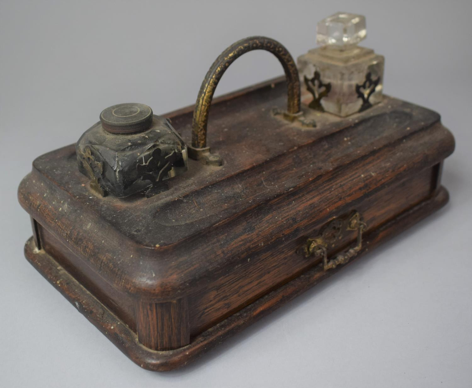 A Late Victorian Desktop Penrest and Inkstand with Two Ink Bottles and Base Drawer, 25cm Wide - Image 2 of 3
