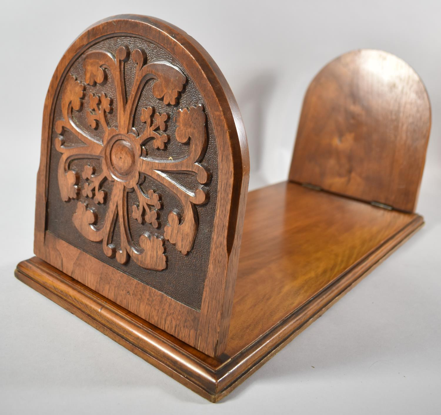 A Late Victorian Carved Book Rest with Hinged Arched End Panels, 51cm wide - Image 2 of 2