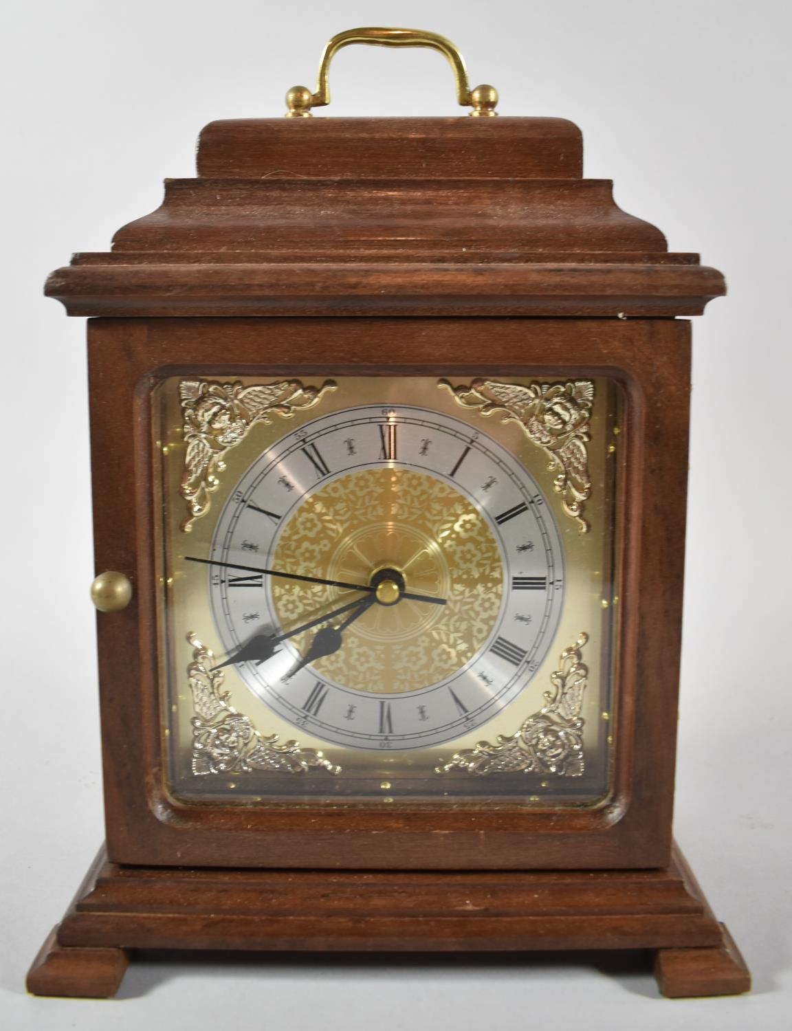 A Mid/Late 20th Century Mahogany Cased Bracket Clock with Battery Movement, 28cm high