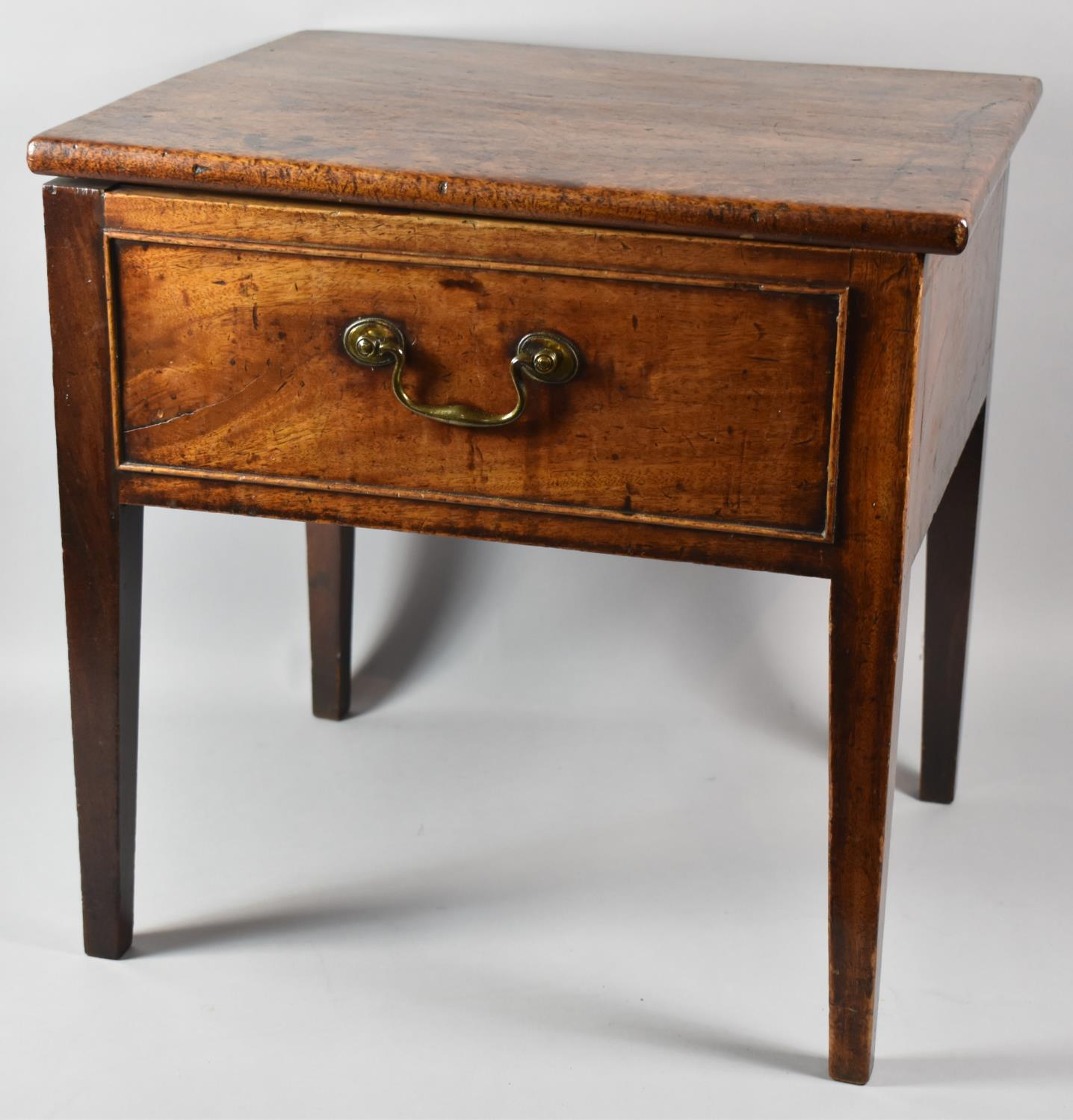 A Mid 19th Century Oak Box Commode with Hinged Top, Missing Liner, 48cm wide