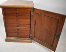 A Late 19th/Early 20th Century Mahogany Ten Drawer Collectors Cabinet with Panelled Door and