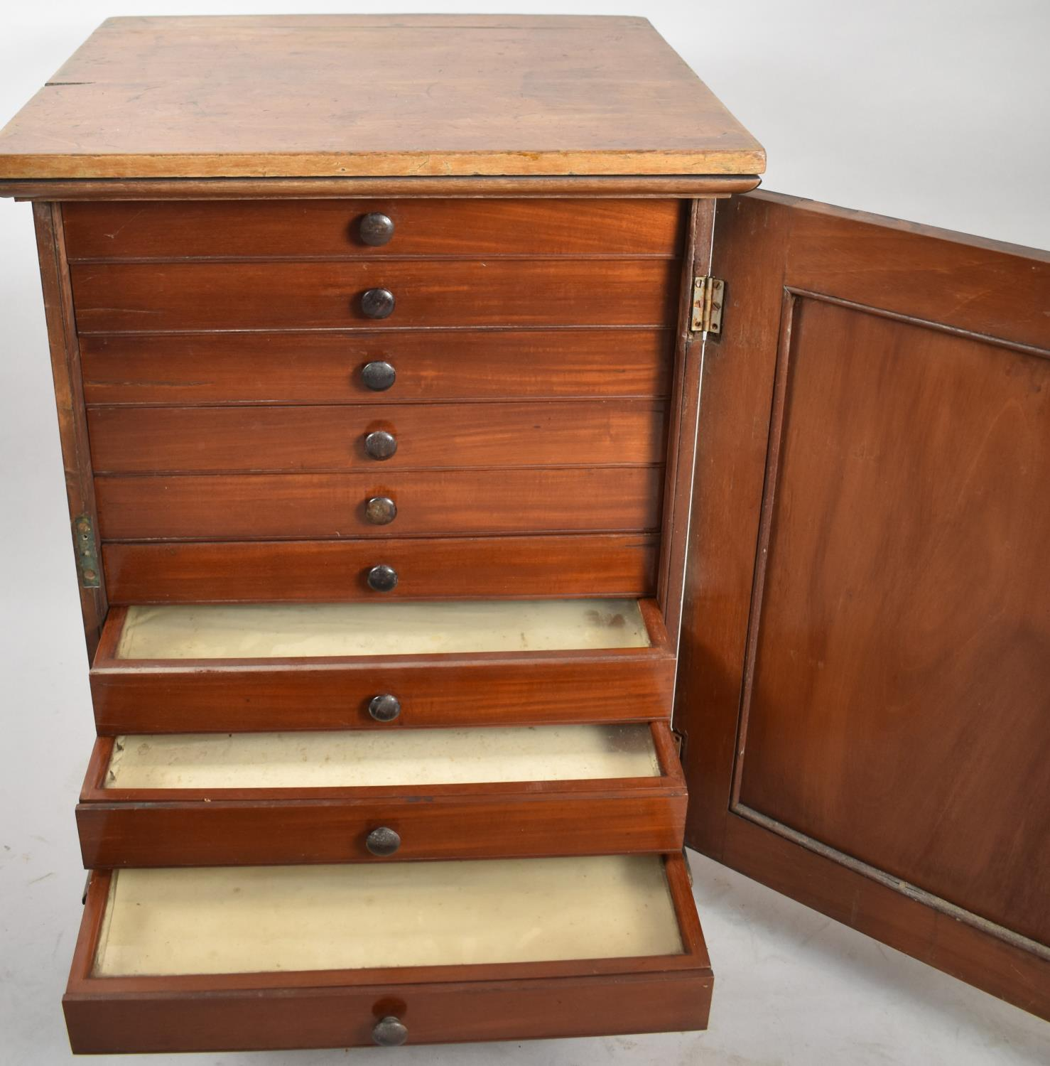 A Late 19th/Early 20th Century Mahogany Ten Drawer Collectors Cabinet with Panelled Door and - Image 2 of 2