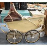 A Vintage Dolls Pram For Restoration and an Oval Meat Plate