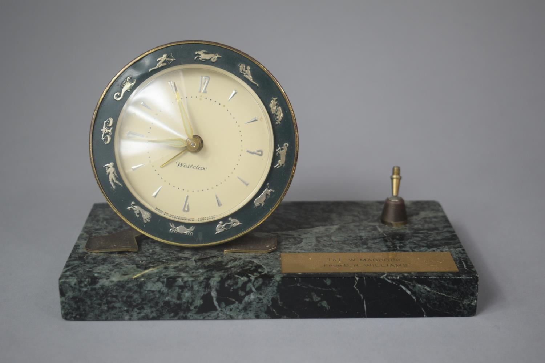 A Presentation Westclox Desktop Alarm Clock on Green Marble Base with Pen Rest (AF), 18cm wide