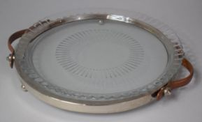 A Modern Circular Leather Handled Tray with Dish Top, 32.5cm Diameter
