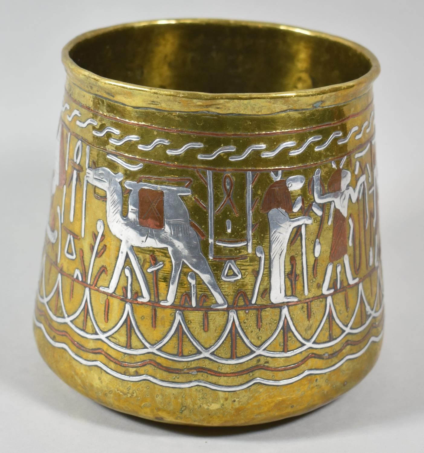 A Mixed Metal Cairo Ware Vase with Egyptian Hieroglyphic Decoration, 14.5cm High