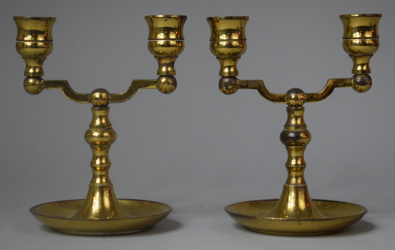 A Pair of Modern Two Branch Brass Candlesticks, 14.5cm high