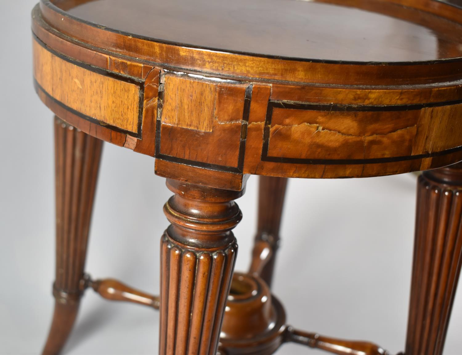 A Former Swivel Top Piano Stool Base Converted to Table with Turned Reeded Tapering Legs, 34cm - Image 2 of 4