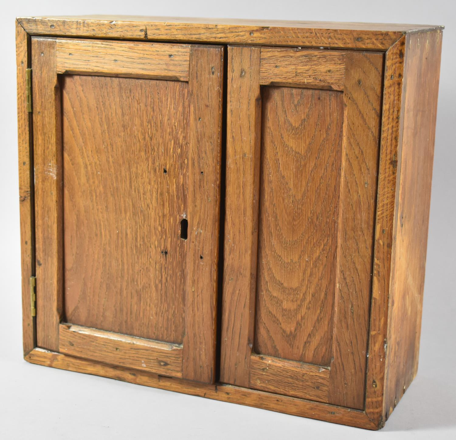 A Wall Hanging Oak Cabinet with Panelled Door, 35.5cm Wide