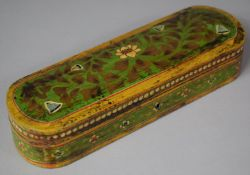 An Indian Painted Wooden Two Division Pen Box, 30cm wide