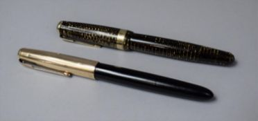 A Parker Fountain Pen with 14k Gold Nib Together with a Parker '51' Example
