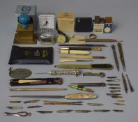 A Collection of Various Vintage Stationery and Desktop Items to Comprise Stamps, Pen Nibs to Include