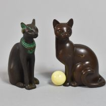 Two Patinated Bronze Studies of Seated Cats, Each 7cm high