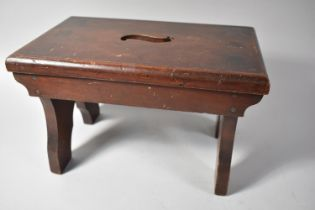 """A Late 19th/Early 20th Century Mahogany Rectangular Stool with Cut Out """"S"""" Top, 32cm wide"""