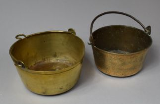 Two Small Brass Jam Kettles, Largest 23.5cm