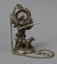 A Modern White Metal Novelty Pocket Watch Holder In the Form of Huntsman with Shotgun and Dog