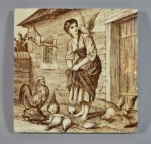 A Transfer Printed Mintons Sepia Tile, Girl Feeding Poultry, 15cm Square