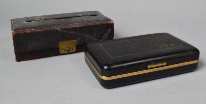 A Small Cantilevered Jewellery Box and a Razor Box, 20cm wide