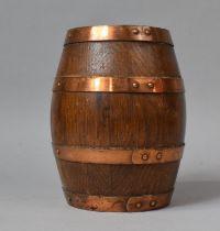 A Copper Banded Oak Barrel, 20cm High