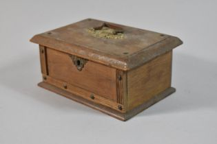 A Small Brass Mounted and Studded Wooden Box with Hinged Lid Having Carrying Handle, 17cm Wide