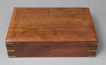 A Modern Brass Inlaid Far Eastern Work Box, 30cm Wide