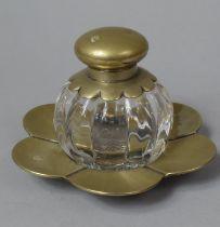 A Silver Plate and Glass Desktop Globular Inkwell on Flower Petal Tray, 15.5cm Diameter