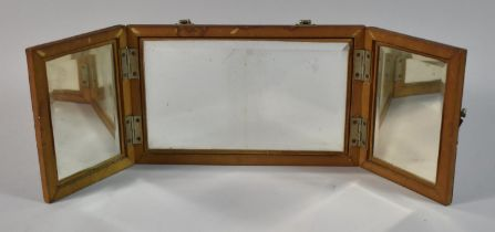 A Late/Early 20th Century Triple Folding Travel Mirror, Formerly Would Have Formed Part of a