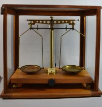 An Edwardian Mahogany Cased Set of Scientific Pan Scales, Case 43cm wide and 40cm High