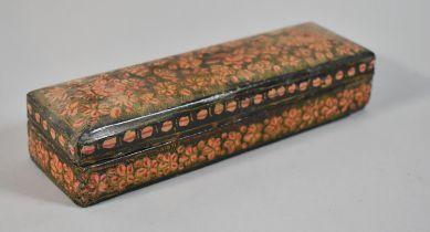 A North Indian Papier Mache Lacquered Pen Box, 20.5cm Wide