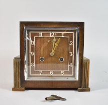 An Art Deco Bentima Mantle Clock with Eight Day Movement, Missing Small Moulding, 23cm wide