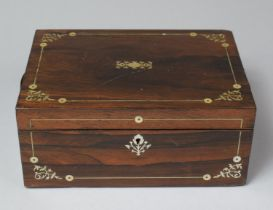A Late 19th Century Mother of Pearl Inlaid Rosewood Work Box, Missing Inner Tray, In Need of Some