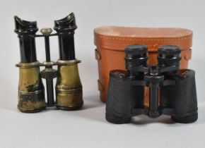 """A Pair of Early 20th Century Brass and Japanned Binoculars, Inscribed """"Binocular Military"""""""