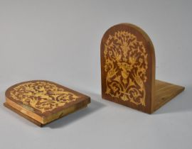 A Pair of Italian Inlaid Bookends, 14cm High