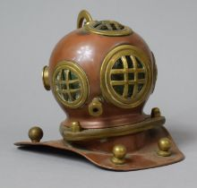 A Mid 20th Century Model In Copper and Brass of a Divers Helmet, 17cm high