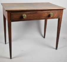 A Regency Mahogany Side Table with Single Long Drawer and Turned Brass Handles, Tapering Turned