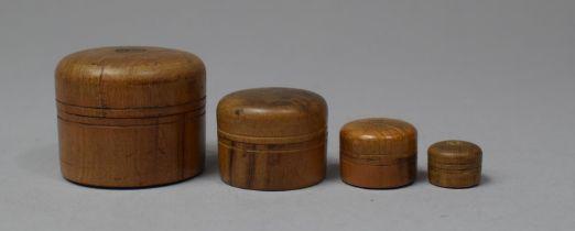 A Graduated Set of Four Miniature Circular Boxes, Largest 3.5cm Diameter