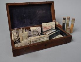 A 19th Century Mahogany Case Containing Various Enamel Colours, Underglazes etc 26cm wide
