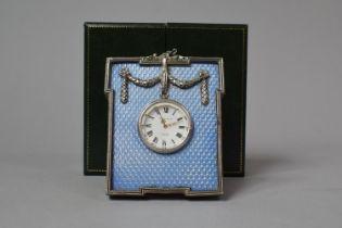 A Cased Kitney & Co. Faux Blue Enamel and White Metal Desk Clock In Original Case, 9.5cm