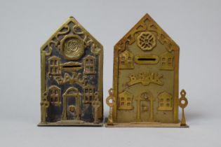 Two Late 19th/Early 20th Century Brass and Iron Novelty Money Banks in the Form of Banks, Tallest