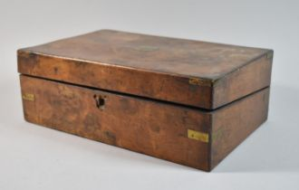 A 19th Century Burr Walnut Writing Slope Now Converted to Workbox and Containing Various