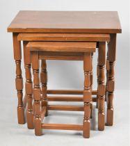 A Modern Oak Nest of Three Table, the Longest 48cm