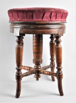 A Late 19th Century Inlaid Circular Adjustable Piano Stool with Turned Supports and Stretchers, 37cm